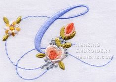 Amazing Embroidery Designs  letter G with roses