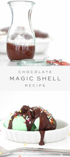This chocolate magic shell is the perfect topping for ice cream and other desserts and it's so easy to make! Made with just two simple ingredients in 5 minutes, it's an effortless way to elevate all of your favorite sweet treats. #chocolatesauce #magicshell Frozen Desserts, Sweet Desserts, Holiday Desserts, Easy Desserts, Delicious Desserts, Frozen Treats, Best Dessert Recipes, Candy Recipes, Dessert Sauces