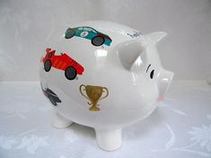 Piggy bank personalized piggy bank piggy bank with race