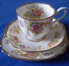 Royal Albert - Evesham Pattern. 1940's Pattern. Pink, Lavender and Yellow Poppies; Gold Trim.