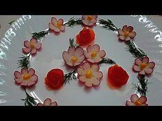 Цветы из редиса. Цветы из овощей. Украшения тарелки. Flowers radish. Flowers vegetables.