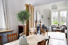 dining room front room knocked through Victorian Room Divider, Victorian Living Room, Victorian House, Victorian Terrace, Room Divider Doors, Room Doors, Door Dividers, Living Room Knock Through, Lounge Diner Ideas
