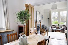 Dining Room/ Sitting Room. Knock Through. Tri-fold original Victorian Doors