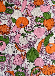 Bright Fruit and Veg Vintage Fabric Yardage-1 3/4 Yards by MarketHome, $18.00