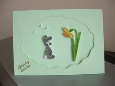 Easter Card: rabbit and daffodil