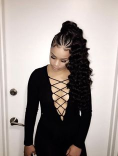 French Braids Ponytail for Black Women braided hairstyles, braids, african american hairstyles, black women hairstyles, Black Girl Prom Hairstyles, Black Ponytail Hairstyles, Baddie Hairstyles, Weave Hairstyles, Girl Hairstyles, Homecoming Hairstyles, Medium Hairstyles, Hairstyles Pictures, American Hairstyles