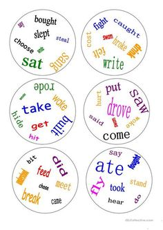 Dobble - irregular verbs - a game - English ESL Worksheets for distance learning and physical classrooms English Games, English Resources, English Activities, English Lessons, Learn English, English Fun, English Class, Verb Games, Grammar Games