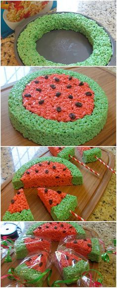 DIY Watermelon Rice Krispie Treats on paper straws. Cute summer treat! (Holiday Bake Halloween)