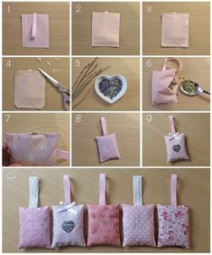 Made with heart scented sachets Lavender Crafts, Lavender Bags, Lavender Sachets, Easy Sewing Projects, Sewing Hacks, Sewing Tutorials, Sewing Crafts, Homemade Gifts, Diy Gifts