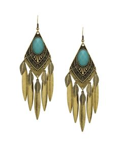 Boho Glam Princess Earrings - Teal