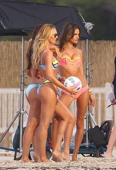 The bikini-clad Victoria's Secret models pose during a catalogue shoot in Puerto Rico Jan. 9, 2015.