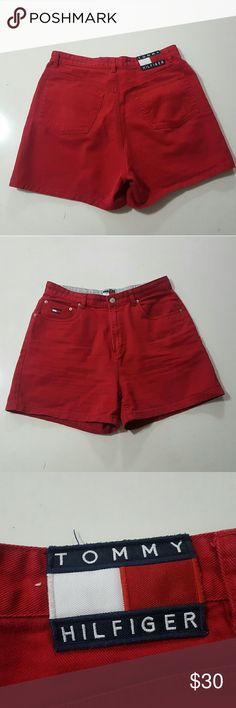 """90s Tommy Hilfiger SZ 32 Mom Shorts *Custom option 90's Tommy Hilfiger Tommy Jeans Red Denim Mom Shorts  - Excellent Condition  - Original 90's Vintage  - Size 32 - Total Length 16.5"""" - Can be customized cut & distressed for $20 more (Look at the Lauren Jeans in my closet based off those)  Any questions feel free to ask  Thank you Tommy Hilfiger Shorts Jean Shorts"""