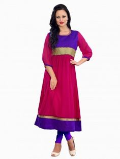 Pink Georgette Anarkali Kurti With Embroidery Work (With Cotton Inner)