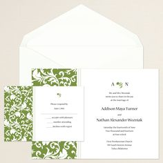 Decorative Damask Wedding Invitation (available in other colors) | #exclusivelyweddings | #greenwedding
