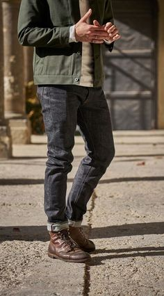 Stylish Mens Outfits, Cute Fall Outfits, Casual Outfits, Men Casual, Fashion Outfits, Mens Fall Outfits, Momotaro Jeans, Mens Boots Fashion, Fashion Men