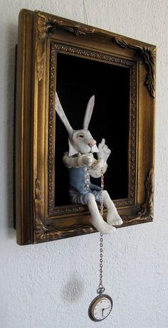 Alice in Wonderland's White Rabbit in a shadow box - FriedericyDolls Alice In Wonderland Room, Wonderland Party, Pot A Crayon, Mad Hatter Tea, Shadow Box, Altered Art, Art Dolls, Dolls Dolls, Clay Dolls