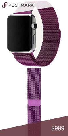 COMING SOON Purple Stainless Band For Apple Watch **COMING SOON - LIKE THIS LISTING TO BE NOTIFIED**  ▪️Brand new in packaging   ▪️Fits Apple watch sizes 38mm   ▪️Milanese mesh w/ magnetic closure   ▪️High Quality 360L stainless steel   ▪️Same or next business day shipping Accessories Watches