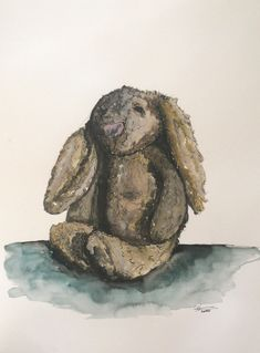 Lion Sculpture, Bunny, Watercolor, Statue, Artwork, Pen And Wash, Cute Bunny, Watercolor Painting, Work Of Art