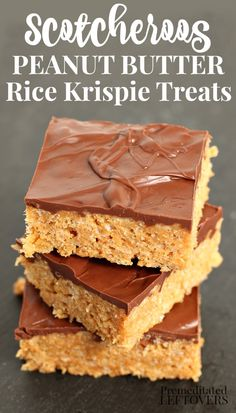 Scotcheroos Peanut Butter Rice Krispie Treats have a chocolate and butterscotch topping. This Scotcherros recipe uses marshmallows instead of corn syrup. This delicious no-bake dessert recipe is a family favorite! Peanut Butter Rice Krispie Treats Recipe, Oreo Rice Krispie Treats, Rice Crispy Treats, Candy Recipes, Sweet Recipes, Dessert Recipes, Desserts, Cookie Recipes, Scotcheroos Recipe