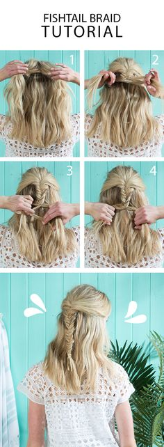 Easy summer hair 101: the fishtail braid. Start with two large sections of hair. Pull a thin strand from outside the left section and cross it over to the right section. Pull tight. The thin strand will merge with the right section. Next pull a thin strand from the right section and cross it over to the left section. Pull tight. The thin strand will merge with the left section. Repeat back and forth until the braid is complete.