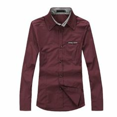 Men Stylish Long Sleeve Button Down Plaids Detail Slim Shirt Wine Color M: Amazon.co.uk: Clothing £10.33 free delivery