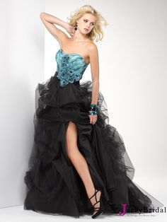 Black Sweetheart Flower Tulle Prom Dress 2013