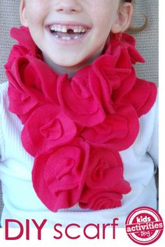 DIY fleece scarf - easy enough for kids to make - makes a great kid-made gift!