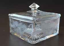 EAPG Heisey Glass Floral Etched Zipper Edge Candy Tobacco Vanity Box ~ Beautiful