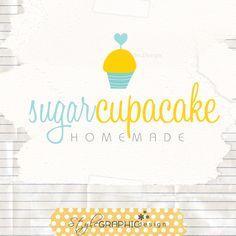 Sweet cupcake logo heart cake logo design bakery branding ooak. $38.00, via Etsy.