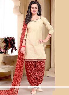 Dignified Beige Print Work Punjabi Suit Model: YOS9335