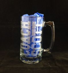 In need of a coaches gift?   Are you looking for a best coach gift for the end of season?   Looking for a fun, functional gift to give your team's coaches?   This personalized beer mug with sports ball as the 0 for the year is the ultimate coach gift!  The caches gift!
