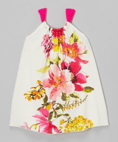 Love U Lots Ivory & Pink Floral Bow Dress - Toddler & Girls *so cute