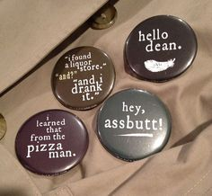 """Supernatural Castiel Quote 2 1/4"""" Buttons (3.00 USD) by balnibarbi"""