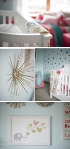 Coral and Aqua Baby Girl Nursery - love the aqua walls with pops of gold!