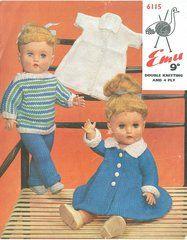 Emu 6115 dolls clothes vintage knitting pattern ORIGINAL