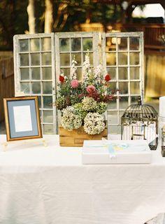 rustic decor for entrance of wedding ceremony #weddingceremony #rustic #weddingchicks http://www.weddingchicks.com/2014/01/29/thrift-savvy-wedding
