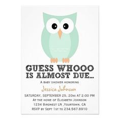 25 best owl baby shower invitations images on pinterest baby cute simple owl boy baby shower invitation filmwisefo