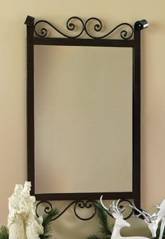 "Black Scroll Metal Wall Mirror   32"" x 20""  $19.97 - savings of 60%!"