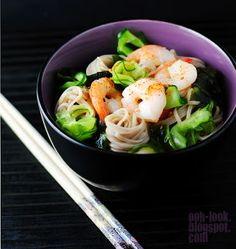 Chilled prawn and cucumber noodle salad