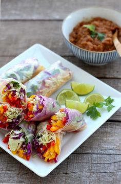 Rainbow Vegetable Rolls + Spicy Peanut Sauce