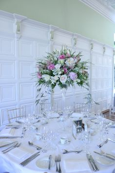 Tall martini vases in the long gallery of Hengrave Hall Martini Glass Centerpiece, Wedding Centerpieces Mason Jars, Wedding Vases, Art Deco Wedding, Flower Centerpieces, Table Centerpieces, Wedding Flowers, Wedding Decorations, Wedding Ideas
