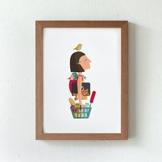 Ilustración. Mujer trabajadora. Póster A4
