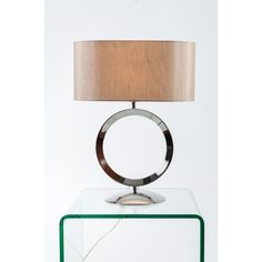 The Stylish Thornton Polished Chrome Hoop Table Lamp Has An Unusual Oval  Silky Taupe Shade.