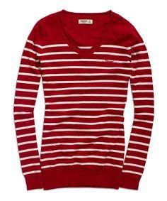 Dark Red & White Stripe Sweater | zulily