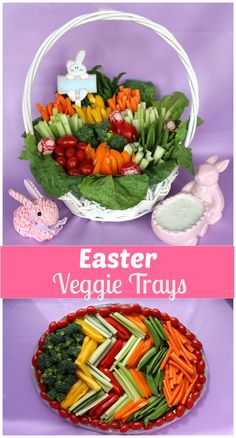 Everyone will be talking about these vegetable trays this Easter! recipes appetizers recipes brunch recipes brunch breakfast bake recipes for kids easter recipes easter recipes brunch Easter Snacks, Easter Appetizers, Easter Treats, Easter Recipes, Easter Food, Easter Desserts, Easter Bunny Fruit Tray, Easter Party, Veggie Platters