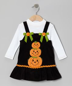 Take a look at this Black Corduroy Pumpkin Top & Jumper - Infant, Toddler & Girls by Gerson & Gerson on #zulily today!