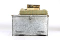 Vintage Metal Trunk, Galvanized Metal Trunk, Vintage Industrial Decor, Industrial Decor, Farmhouse Decor