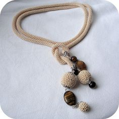 Beige bead crochet rope necklace lariat with by RebekeJewelryShop, $50.00