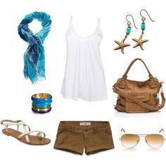 Tan & Sapphire, created by coastalstyleblogspot on Polyvore
