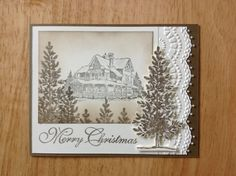 Stampin Up handmade Christmas card - winter cottage